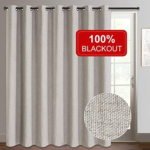 Rose Home Fashion Sliding Door Curtains, Primitive Linen Look 100 Blackout Curtains, Thermal Insulated Patio Door Curtains-1 Panel 100×96 Beige