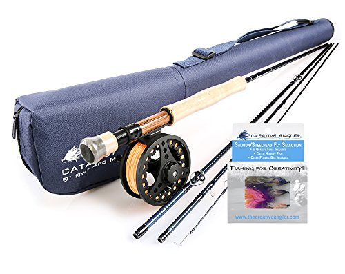 (Creative Angler Catalyst 9ft 8wt Fly Rod and Fly Reel Combo with Steelhead/Salmon Fly Selection for Fly Fishing)