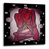 3dRose Abstract Couple – Abstract, Red, Contemporary, Couple, Cream, Cuddling, Love – Wall Clock, 13 by 13-Inch (dpp_46886_2)