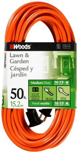 - Woods 0723 16/2 SJTW General Purpose Extension Cord, Medium Duty, Ideal for Landscaping and Powering Appliances, Water Resistant Flexible Vinyl Jacket, Durable Molded Plug, 50 Foot, Orange