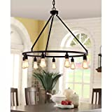 Cheap Rustic Chandelier Centerpiece With Bulbs For High And Low Ceiling Rooms | Circular Light Fixture With Industrial Accents Creates Modern Farmhouse Feel | Bronze Pendant Lamp Provides Ample Lighting