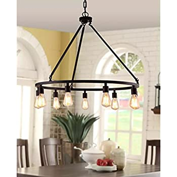 Rustic chandelier centerpiece with bulbs for high and low ceiling rooms circular light fixture with