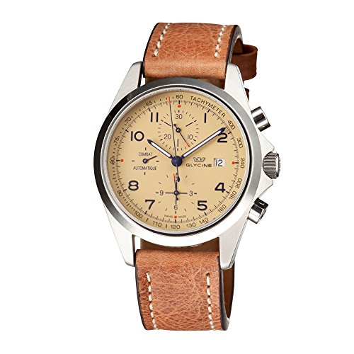 Glycine Unisex 3924-15AT-LB7BH'Combat' Stainless Steel Automatic Watch with Brown Leather Band