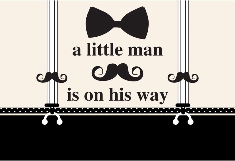 Baocicco 10x8ft A Little Man is On The Way Backdrop Black Bow Tie Suspender Trousers Moustache Photography Background Its A Boy Party Decoration Welcome A Boy Party Little Boy Photo Studio