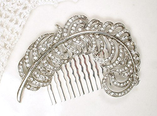 Feather Bridal Hair Comb, 1920's Rhinestone Silver Leaf Headpiece from Vintage Brooch, Art Deco Silver Clear Crystal Silver Plume Wedding Accessory by AmoreTreasure