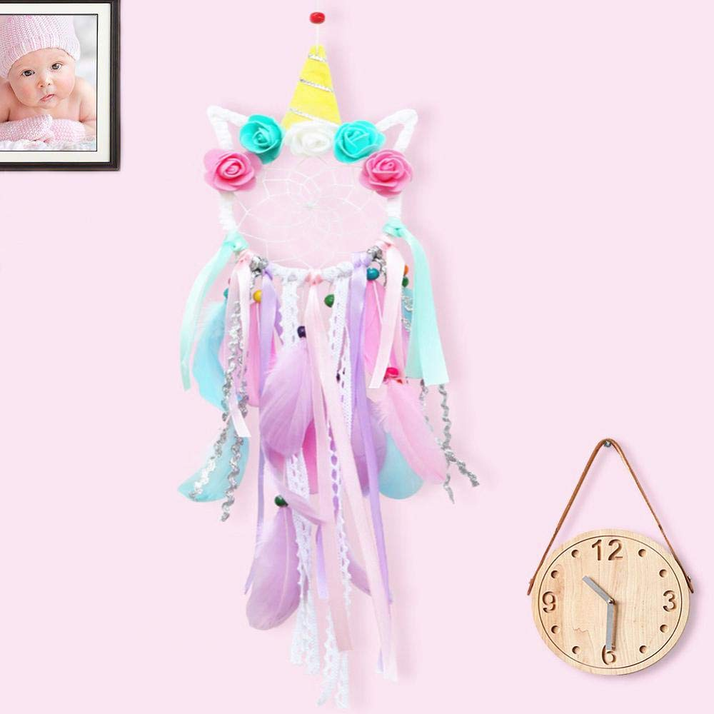 ZUEXT Unicorn Dream Catchers for Kids, Handmade Pink Flower Feathers Dreamcatcher for Girls Bedroom Wall Hanging Decoration, Unicorn Nursery Decor, Magical Unicorn Theme Birthday Party Blessing Gift