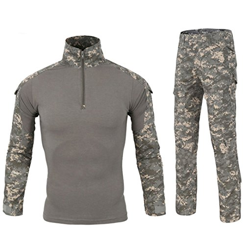 T-shirt Army Woodland Cotton Camo (QCHENG Men's Military Tactical Shirt and Pants Multicam Army Camo Hunting Airsoft Paintball BDU Combat Uniform Dry Quick UPC X-Large)