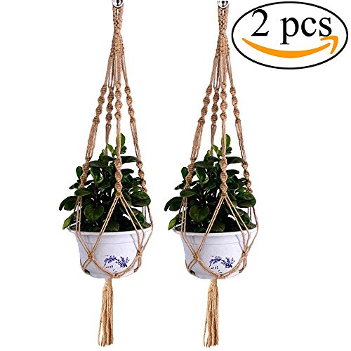 Mmei 2 pcs Handmade Braided Natural Jute Decorative Rope Macrame Plant Hanger Indoor Outdoor Hanging Planter Basket Pot 4 Legs 40 Inch length