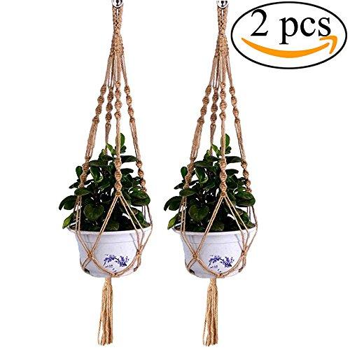 Mmei 2 pcs Handmade Braided Natural Jute Decorative Rope Macrame Plant Hanger Indoor Outdoor Hanging Planter Basket Pot 4 Legs 40 Inch length