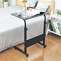 S-PLUS Wood Laptop Desk Bed Learning with Household Lifting Folding Mobile Bedside Table Writing Desktop Computer Desk With Slot 60 X 40 black