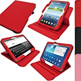 """iGadgitz Premium Rotating Red PU Leather Case Cover for Samsung Galaxy Tab 3 10.1"""" GT-P5210 With Auto Sleep Wake + 360 Viewing Angle Stand + Screen Protector"""