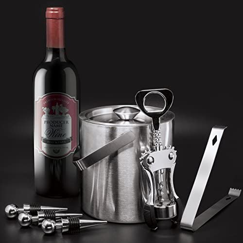 Bottle Opener For Any Occasion Great Holiday Gift 3 Bottle Stoppers Sorbus Ice Bucket Wine Set /— Deluxe 6 Piece Includes: Stainless Steel Double Walled Ice Bucket with Lid Ice Tong