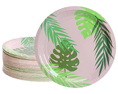 (Disposable Plates - 80-Count Paper Plates, Tropical Party Supplies for Appetizer, Lunch, Dinner, and Dessert, Birthdays, Palm Leaves Design with Pink Background, 9 Inches in)