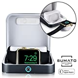 5-in-1 Apple Watch charger case -[NEW] SUMATO WATCHBOX Charging Station for Apple Watch Band 42mm 38mm, 5000mAh Power Bank, Charging cable, Keychain Travel Charger, Apple Watch Series 2 3 1, Dark Gray