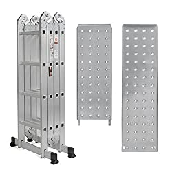 15.5' Platform Multi-Purpose Folding Aluminum Ladder w/ 2 Free Plate EN131