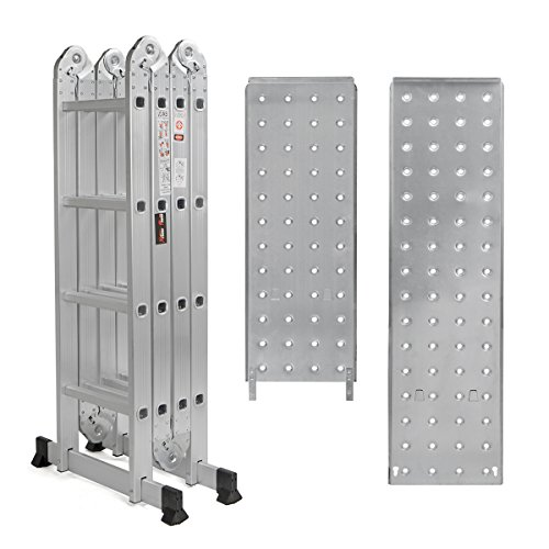 15.5' Platform Multi-Purpose Folding Aluminum Ladder w/ 2 Free Plate EN131