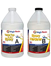Magic Resin | 1 Gallon (3.8 L) | Premium Quality Clear Epoxy Resin Kit | Non-Toxic | High Gloss Thick Clear Coat | For Table Tops, Bar Tops, Counter Tops and Artworks | Excellent Color Stability | 100% Solids