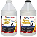 Magic Resin | 1 Gallon (3.8 L) | Premium Quality Clear Epoxy Resin Kit | Non-Toxic, Odor Free | High Gloss Thick Clear Coat | For Table Tops, Bar Tops, Counter Tops and Artworks | Excellent Color Stability | 100% Solid