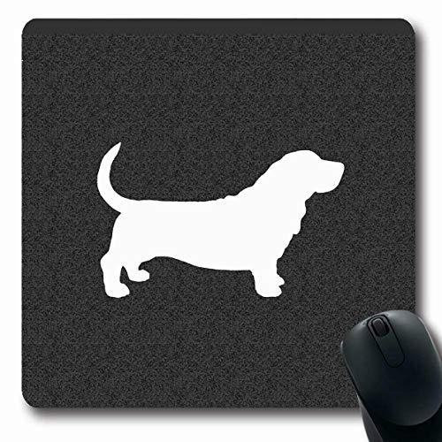 Ahawoso Mousepads Basset Hound Dog Silhouette Black White Oblong Shape 7.9 x 9.5 Inches Oblong Gaming Mouse Pad Non-Slip Rubber Mat