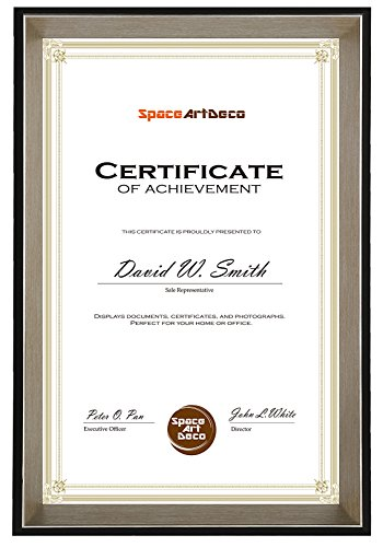 - Space Art Deco 11x17 Black Frame with Silver Beveled Edge - Certificate Holder - Sawtooth Hangers - Wall Mount - Landscape Portrait - Glass (Black with Silver Beveled Edge)