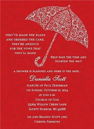 filigree umbrella berry bridal shower invitation