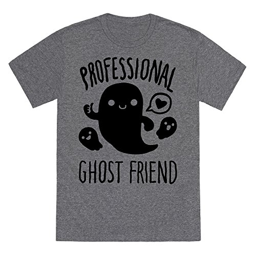 LookHUMAN Professional Ghost Friend Heathered Gray Large Mens/Unisex Fitted Triblend Tee