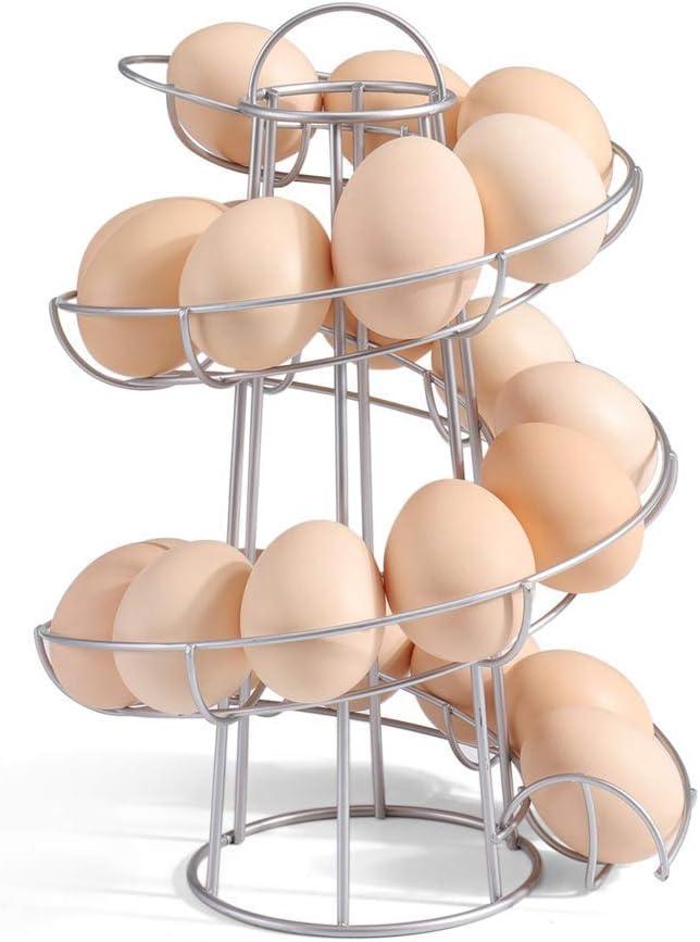 Argento Uova Cesto Scaffale Salva Spazio per Cucina Uova Supporto Cavalletto Moderno Spiraling Dispenser LuMon Uova Sostegno Supporto Rack