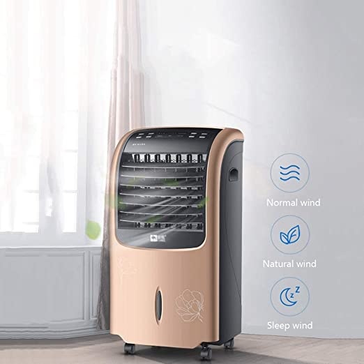 Zenghh Enfriador de Aire móvil Ventilador de refrigeración pequeño Aire Acondicionado Control Remoto hogar más Cristal de Hielo Ventilador portátil de 3 velocidades sin instalación (Color : Oro): Amazon.es: Hogar