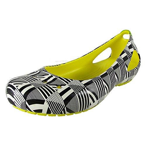 Crocs Womens Kadee Mondo Geo Flat Shoes, Burst, US 6 ()