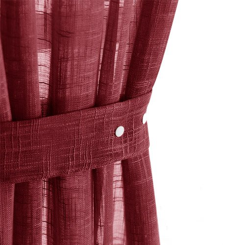 jinchan Linen Textured Curtain Holdbacks 2 Pieces Tie-backs for Sheer Curtains - Burgundy, - 2 Sheer Tie Piece
