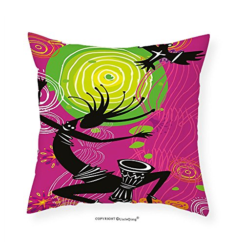 VROSELV Custom Cotton Linen Pillowcase Tribal Ethnic African Ancient Primitive Dancing Man with Quotes for Bedroom Living Room Dorm Fuchsia Green Light Green and Black 16