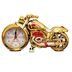 Motorcycle Alarm Clock of Luxury Retro Style, Creative Artistic Motorbike Desk Clock Model for Household Shelf Decorations, Unique Eye-Catching Exquisite Motorbike Sporting Alarm Clock with Plastic an