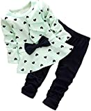 BomDeals Adorable Cute Toddler Baby Girl Clothing 2pcs Top&pants Outfits (12-18 Months, Green)