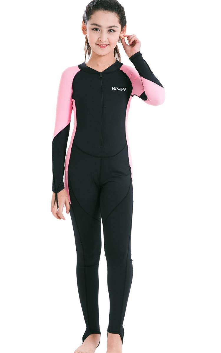JELEUON Little Kids Girls One Piece Water Sports Sun Protection Rash Guard UPF 50+ Long Sleeves Full Suit Swimsuit Wetsuit Navy/Rose