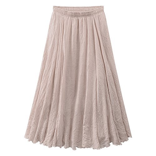 Ourlove Fashion Women's Bohemian Style Elastic Waist Band Cotton Linen Long Maxi Skirt Summer Dress (95 cm, Beige)