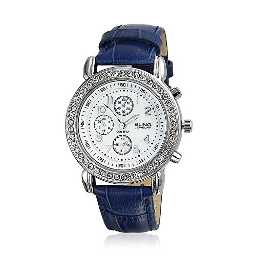 Bling Jewelry Geneva Round Navy Leather Strap Stainless Steel Back Watch