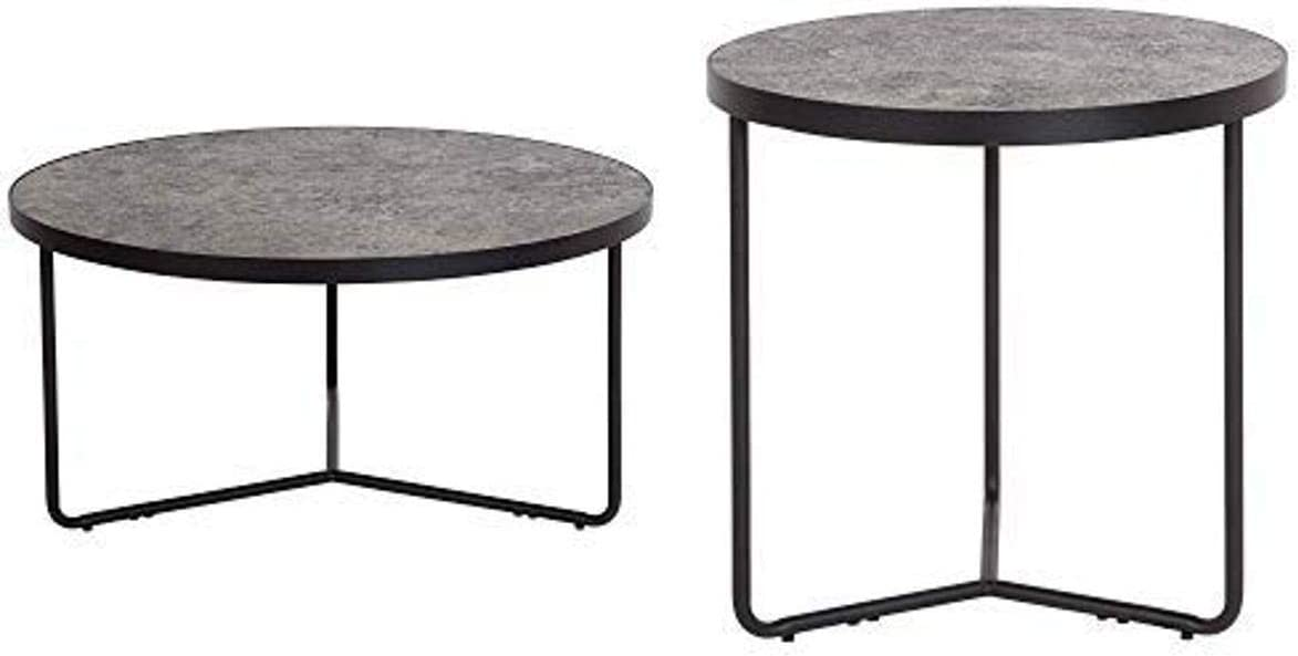 Flash Furniture Providence Collection 3 Piece Round Coffee and End Table Set in Concrete Finish
