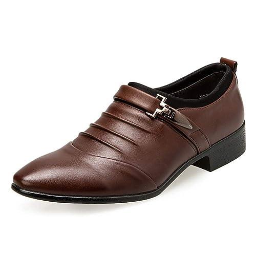 787e09b254 Anzugschuhe Herren Slipper Anzug Schuhe Derby Oxford Lederschuhe Business  Hochzeit Männer Leder Winter Herrenschuhe Weiß Hellbraun Schwarz 38-48:  Amazon.de: ...