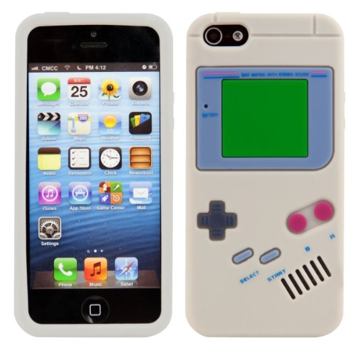 kwmobile Gameboy Silicone Case for Apple iPhone SE / 5 / 5S - Soft Silicone Gel Protective Cover with Cute Design (Iphone 5 Cases Gameboy)