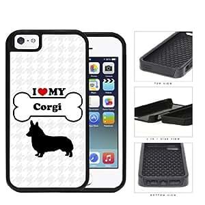 I Love My Dog Series 2-Piece Dual Layer High Impact Black Silicone Cover Case Apple iPhone 5 5s (Corgi)