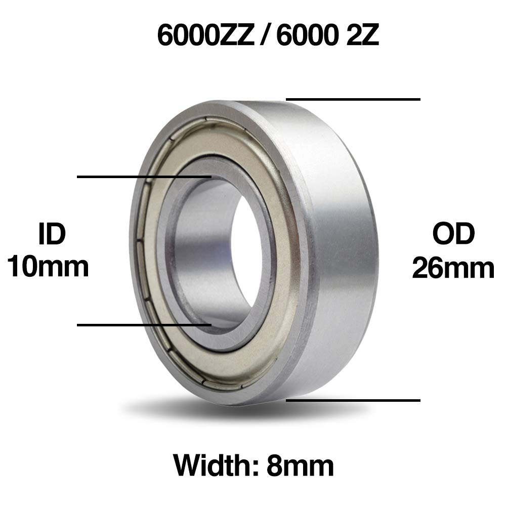 6001ZZ 12x28x8mm 5pcs 6000 Series Carbon Steel Metal Shielded Deep Groove Ball Bearings
