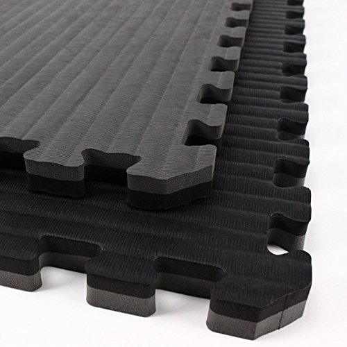 IncStores - Tatami Foam Tiles (Black/Grey, 6 Tiles) - Extra Thick mats Perfect for Martial Arts, MMA, Lightweight Home Gyms, p90x, Gymnastics, Yoga, Cardio, Aerobic, and Exercises