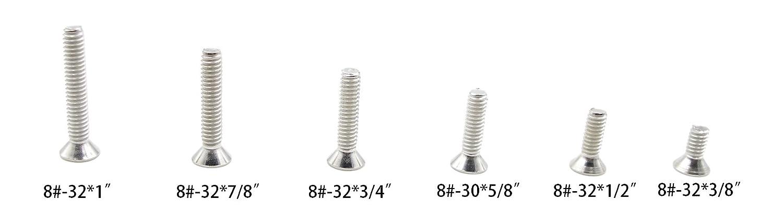 HVAZI #4-40 UNC Stainless Steel Phillips Flat Head Machine Screws Nuts Assortment Kit