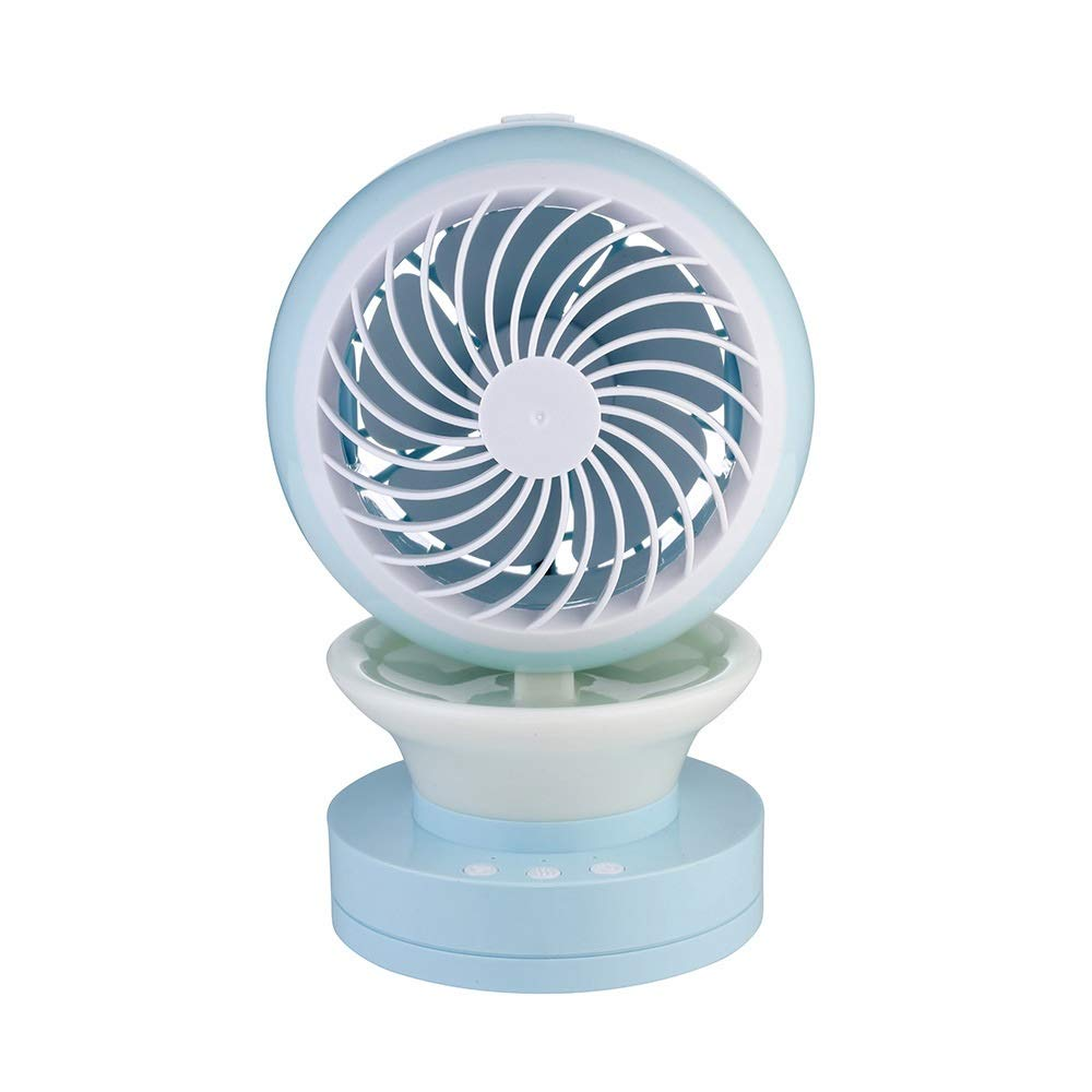 Small Portable Cooling Fan, Mini USB with Colorful Lights Air Conditioning Cooling Fan Desktop Aroma Humidifying Fan (Color : Blue) by In This Space