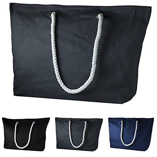 cecilia&bens Bolso de tela de Lona para mujer 39x16.5x37 Gris/Blanco