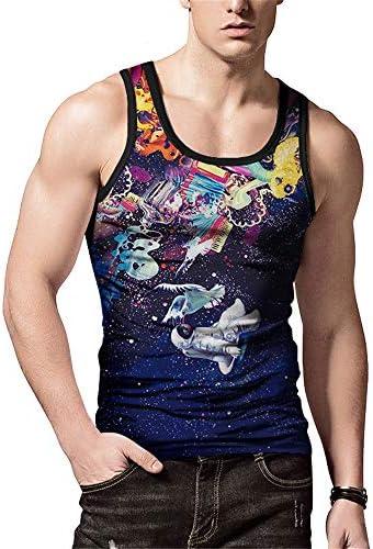 タンクトップ メンズ メンズプリントノースリーブベストカジュアルラウンドネックベストビーチホリデーヘッドファッションルースTシャツ 夏 スポーツ フィットネス (色 : C1, Size : M)