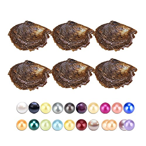 150PCS of Mix 20 Colors Single and Twins Individual Package 6-8mm Saltwater Round Akoya Pearl Oyster by NY Jewelry