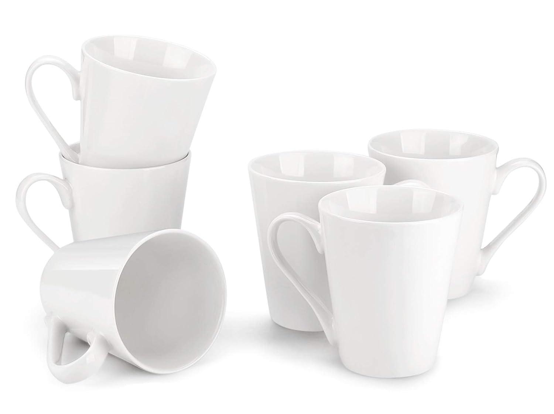 MIWARE 11 Ounce Porcelain Mugs - 6Packs, Tea and Coffee Mug Set, White