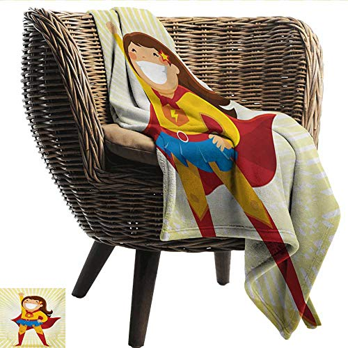 EwaskyOnline Superhero Flannel Blanket Courageous Little Girl with a Big Smile in Costume Standing in a Heroic Position Sofa Warm Bed 72