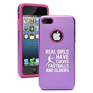 Apple iPhone 4 4s Aluminum Silicone Dual Layer Hard Case Cover Real Girls Curves Softball (Purple)